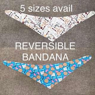 Reversible Tie-on Bandana for dogs and cats XSmall Small Medium Large XLarge