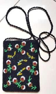 Small Beads Flower Black pouch sling bag