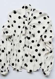 Forever21 white and black polka dots wrinkled longsleeves
