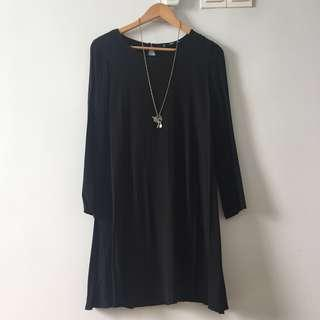 MNG♥️(NEW) L size  BLACK SHIFT DRESS/MANGO with FREE🎁GIFT' VINTAGE NECKLACE'