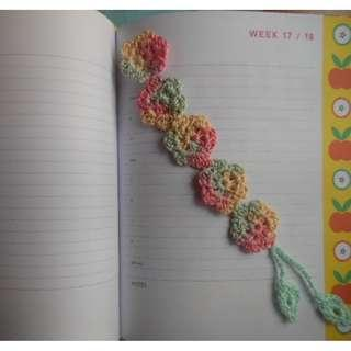 Crocheted Flower with leaves Bookmark