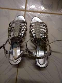 Silver Heels,  1.5 inches heels,  Size 6