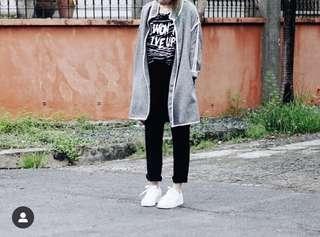 Gray oversized long coat jacket with white stripes