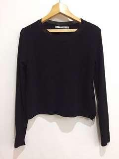 Zara Black Cropped Ribbed Knit Sweater Top Blouse
