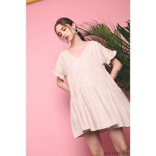 Hollyhoque Tove Linen Babydoll Dress Malt - Size S