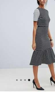 NWT ASOS Midi Dress with Peplum Hem in mono stripes