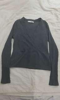 Long-sleeved Grey Ribbed Top
