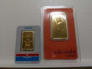 Valcambi Suisse and Credit Suisse Goldbars