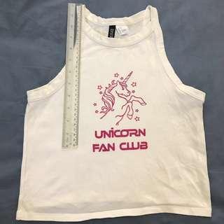H&M Unicorn Singlet White Pink Hardly Worn 9 years old Girls Kids Top Tshirt