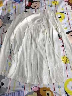 White Long Sleeve Maternity and Nursing Top