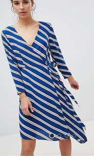 NWT New Look Asymmetric Wrap Midi Dress in Stripes
