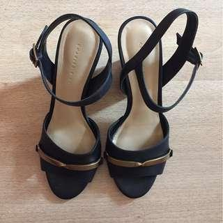 Charles and Keith black block wedges