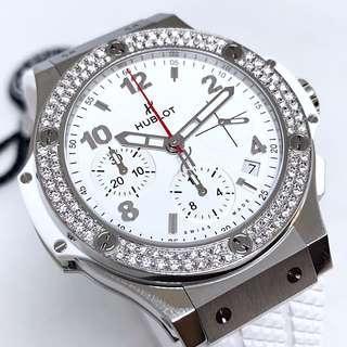 🚚 FS.BNIB HUBLOT BIG BANG STEEL WHITE DIAMONDS AUTOMATIC CHRONOGRAPH 41MM WATCH 342.SE.230.RW.114