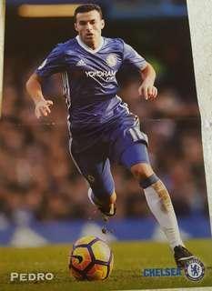 足球海報 Chelsea Pedro & As Roma line-up [一張兩面]