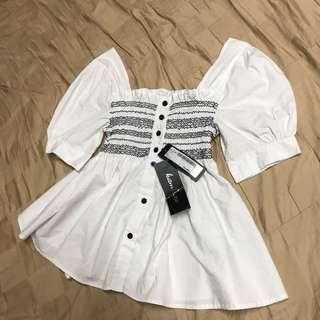 Kamiseta White Peplum Top