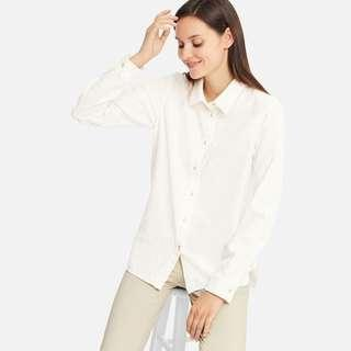 Uniqlo Women Flannel Long Sleeve Shirt in White
