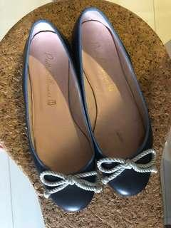 Pretty Ballerina Pumps - Blue trimming with Silver Rope