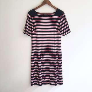 Jacqui E Striped T-shirt Dress