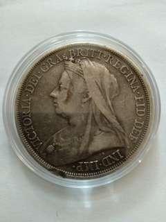 英國銀幣one crown 1895年,維多利亞女皇,品相如圖。