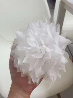 White flower with feather hair clip