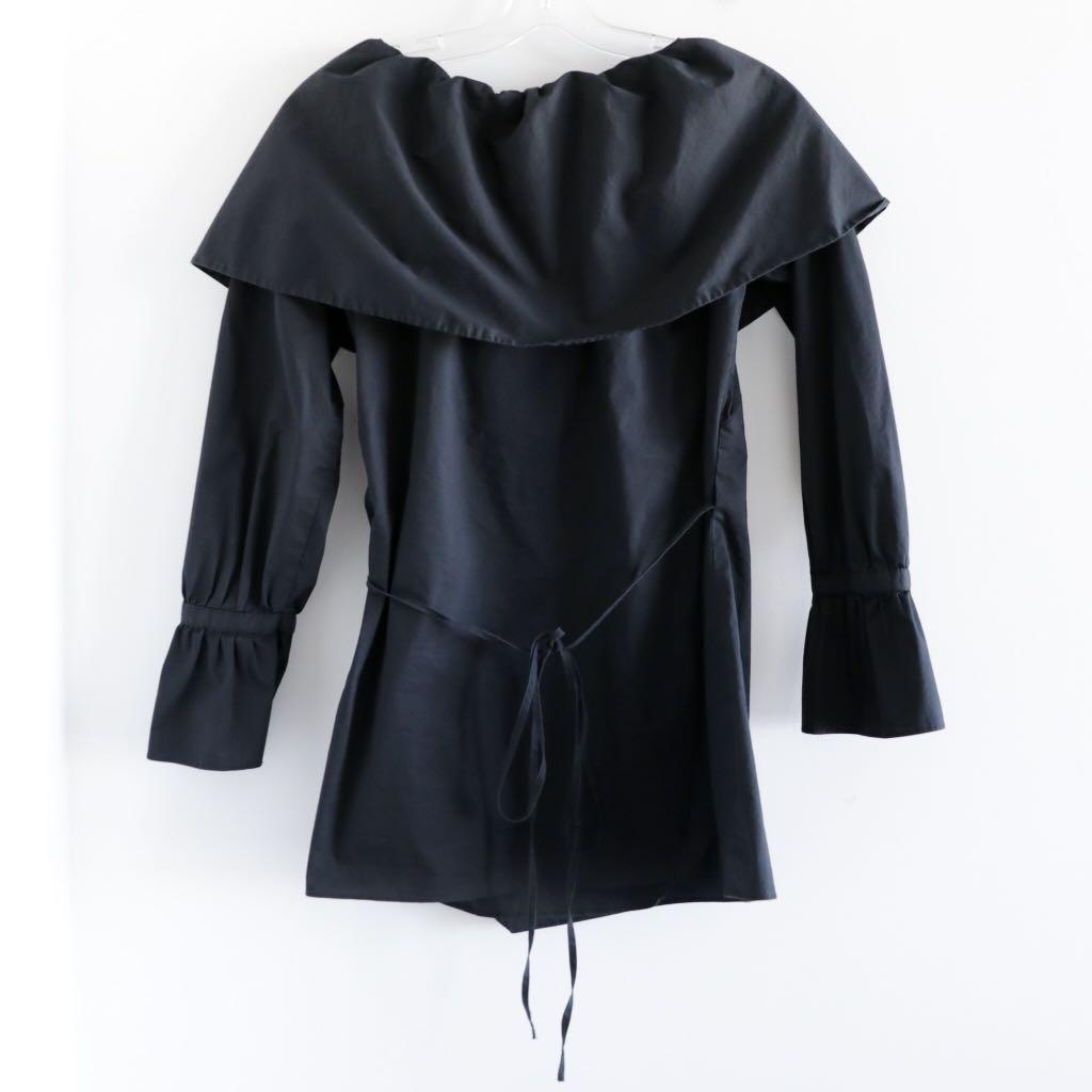 172 Grams black wrap off the shoulder blouse XS S small