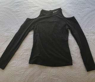 Women's size small temt grey off the shoulder sleeve
