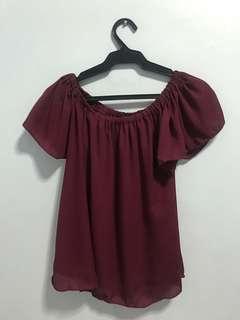 Red violet off shoulder top