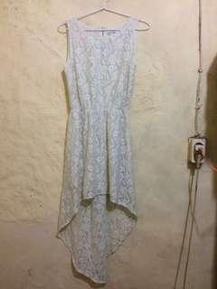 Dress pesta Tunik brokat putih tulang