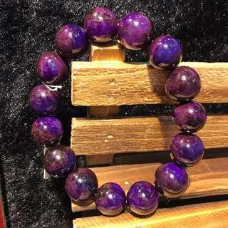 天然舒俱徠抗癌寶石手鏈,直徑:15mm,老料皇家紫,收藏極品,重:66.8克