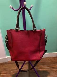 Red Leather Handbag/ Shoulder Bag