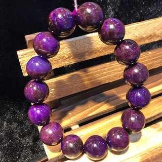 天然抗癌舒俱徠寶石,直徑:13.4,重:52.2克,收藏極品,老料皇家紫。