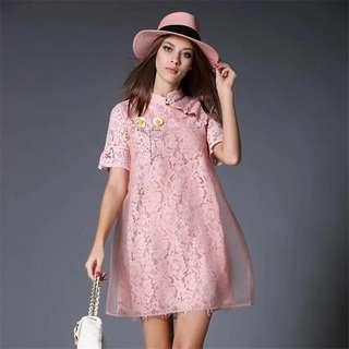 Pink Lace Dress(CNY suitable)
