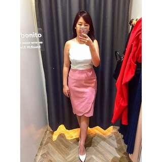 Floral edge pink skirt