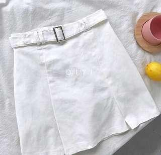 White schoolgirl denim skirt