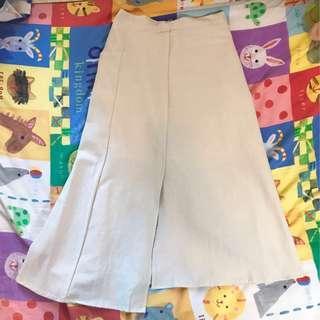 秋季米白麻布裙