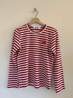 Authentic Comme Des Garcons Play T163 Stripe Long-sleeve Tee- red/white size M