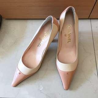 Chanel 粉色裸色尖頭高跟鞋