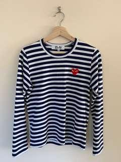 Authentic Comme Des Garcons Play Stripe Long-sleeve Tee- navy/white size M