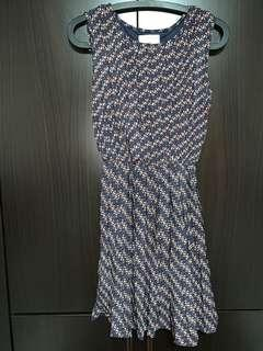 Navy blue printed woman's Dress
