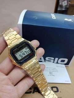 authentic gold digital black face casio9