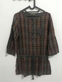 Tartan long blouse