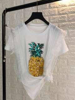 🍊CNY Pineapple Lace Shirt HUAT AH (BNIP)
