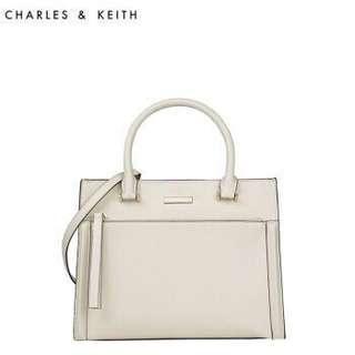 Charles & Keith Structured Handbag (M Size Cream-CK2-50780046)