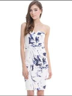 The Closet Lover Marble Art Tube Dress in Size S