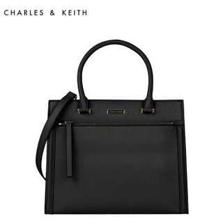 Charles & Keith Bag Structured Handbag (L Size Black - CK2-50780047)
