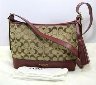 Coach Legacy Signature EW Canvas Leather Crossbody Shoulder Bag-MAROON/KHAKI