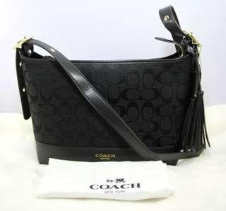 Coach Legacy Signature EW Canvas Leather Crossbody Shoulder Bag-BLACK