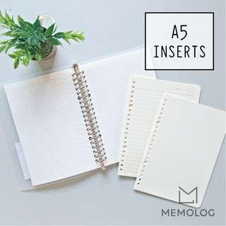 A5 Loose Leaf Ring Binder Notebook Inserts