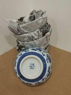 (6只) 80年代 景德鎮 青花纏枝蓮 4吋半 平口碗 瓷器 餐具