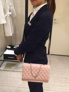 Chanel timeless quilted lambskin bah with pearls